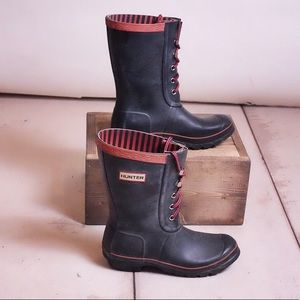 Rare Black Red Hunter Wellie Festival Boots Size 5